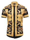 Pizoff Men's Short Sleeve Luxury Print Dress Shirt AL003-41