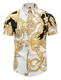 Pizoff Men's Short Sleeve Luxury Print Dress Shirt AL003-45