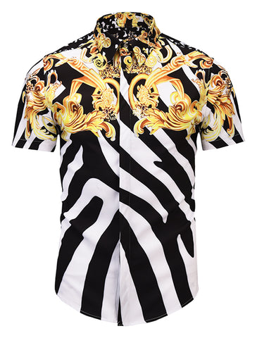 Pizoff Men's Short Sleeve Luxury Print Dress Shirt AL003-46