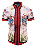 Pizoff Men's Short Sleeve Luxury Print Dress Shirt AL003-47