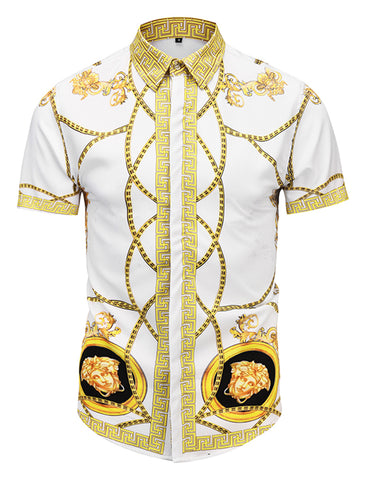 Pizoff Men's Short Sleeve Luxury Print Dress Shirt AL003-48