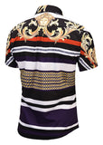 Pizoff Men's Short Sleeve Luxury Print Dress Shirt AL003-49