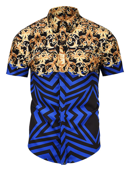 Pizoff Men's Short Sleeve Luxury Print Dress Shirt AL003-50
