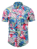 Pizoff Men's Short Sleeve Luxury Print Dress Shirt AL003-51