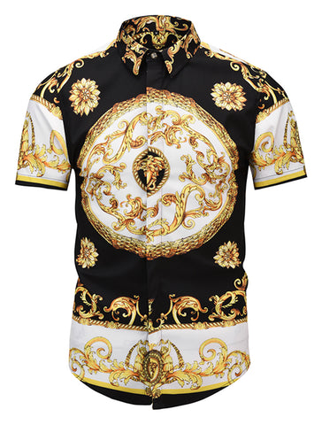 Pizoff Men's Short Sleeve Luxury Print Dress Shirt AL003-52