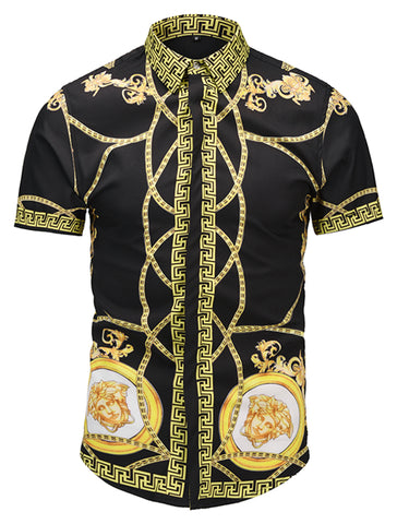 Pizoff Men's Short Sleeve Luxury Print Dress Shirt AL003-53
