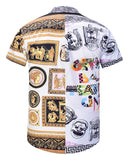 Pizoff Men's Short Sleeve Luxury Print Dress Shirt AL003-56
