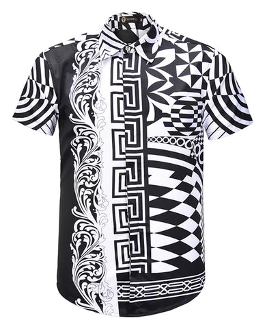 Pizoff Men's Short Sleeve Luxury Print Dress Shirt AL003-61
