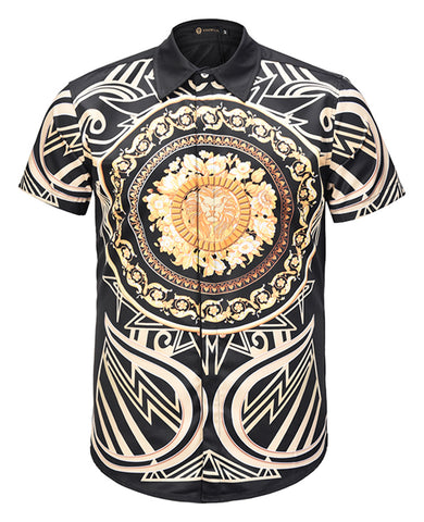 Pizoff Men's Short Sleeve Luxury Print Dress Shirt AL003-62