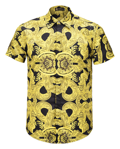 Pizoff Men's Short Sleeve Luxury Print Dress Shirt AL003-64