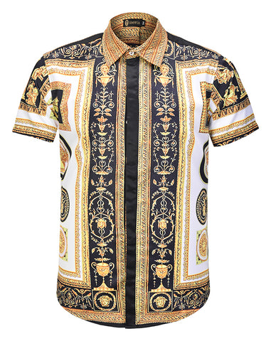 Pizoff Men's Short Sleeve Luxury Print Dress Shirt AL003-65
