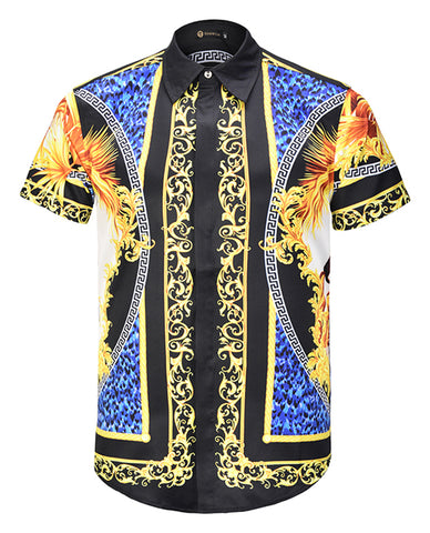 Pizoff Men's Short Sleeve Luxury Print Dress Shirt AL003-66