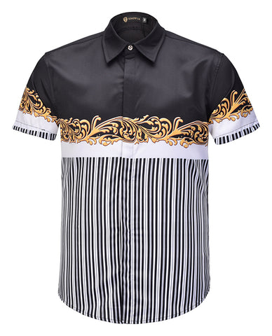 Pizoff Men's Short Sleeve Luxury Print Dress Shirt AL003-67