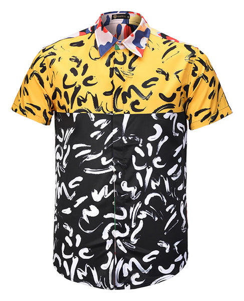 Pizoff Men's Short Sleeve Luxury Print Dress Shirt AL003-68