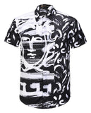 Pizoff Men's Short Sleeve Luxury Print Dress Shirt AL003-69