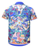 Pizoff Men's Short Sleeve Luxury Print Dress Shirt AL003-70