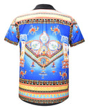 Pizoff Men's Short Sleeve Luxury Print Dress Shirt AL003-71
