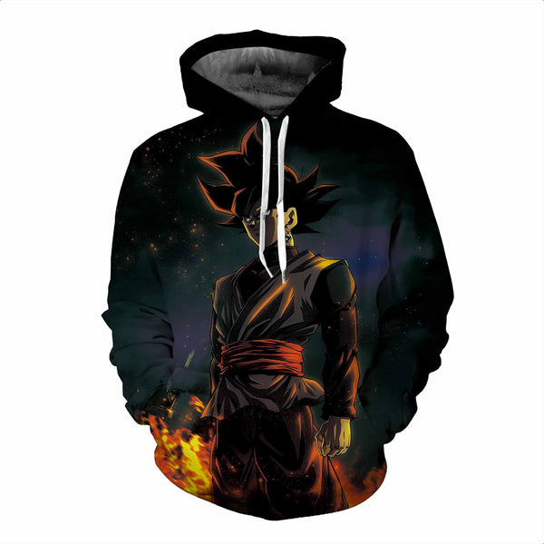 Pizoff Unisex Dragon Ball Print Hoodie Long Sleeve Pullover Sweatshirt With Pockets AL004-10