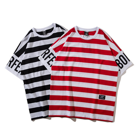 Pizoff Unisex Hip Hop Stripe Short Sleeve T-Shirt AL005-717