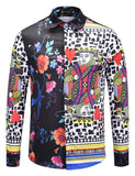 Pizoff Mens Long Sleeve Luxury Print Dress Shirt AL082-04