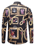Pizoff Mens Long Sleeve Luxury Print Dress Shirt AL082-07