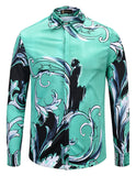 Pizoff Mens Long Sleeve Luxury Print Dress Shirt AL082-08