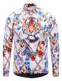 Pizoff Mens Long Sleeve Luxury Print Dress Shirt AL082-09