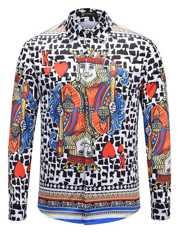 Pizoff Mens Long Sleeve Luxury Print Dress Shirt AL082-10
