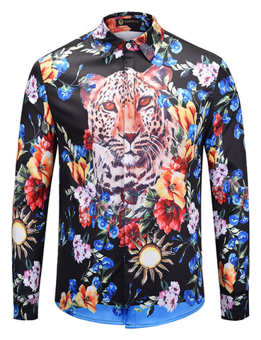 Pizoff Mens Long Sleeve Luxury Print Dress Shirt AL082-11