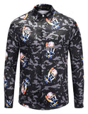 Pizoff Mens Long Sleeve Luxury Print Dress Shirt AL082-12