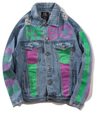 Pizoff Mens Hipster Pop-up Washed Denim Retro Distress Blue Jacket AL113