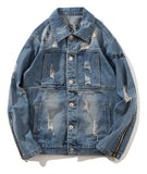 Pizoff Mens Hipster Pop-up Washed Denim Retro Distress Jacket AL143