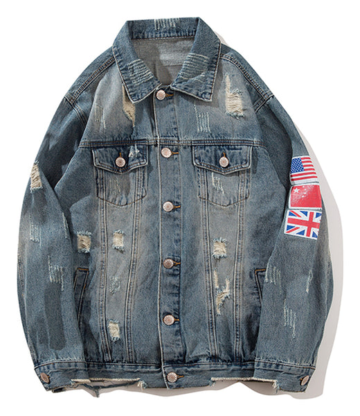 Pizoff Mens Hipster Pop-up Washed Denim Retro Distress Jacket AL145