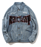 Pizoff Mens Hipster Pop-up Washed Denim Retro Distress Jacket AL147