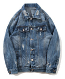 Pizoff Mens Hipster Pop-up Washed Denim Retro Distress Jacket AL149