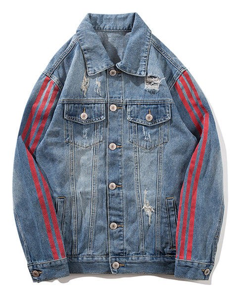 Pizoff Mens Hipster Pop-up Washed Denim Retro Distress Jacket AL150