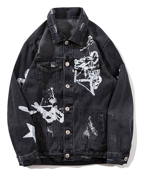 Pizoff Mens Hipster Pop-up Washed Denim Retro Distress Jacket AL152