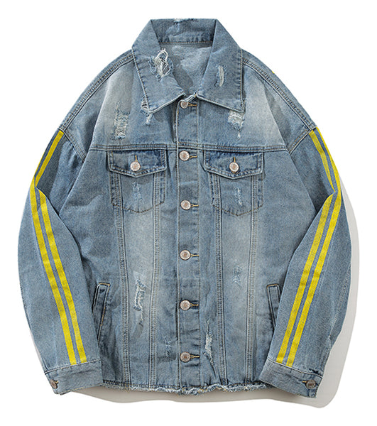 Pizoff Mens Hipster Pop-up Washed Denim Retro Distress Jacket AL163