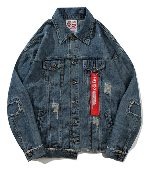 Pizoff Mens Hipster Pop-up Washed Denim Retro Distress Jacket AL164