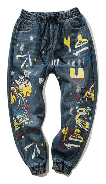 Pizoff Men's Hipster Sweatpant Denim Pants AL167
