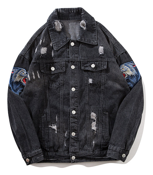 Pizoff Mens Hipster Pop-up Washed Denim Retro Distress Jacket AL171