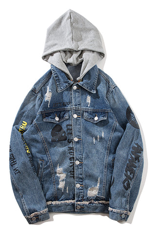 Pizoff Mens Hipster Pop-up Washed Denim Retro Distress Jacket with Hood AL176
