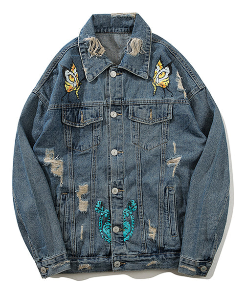 Pizoff Mens Hipster Pop-up Washed Denim Retro Distress Jacket AL177