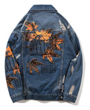Pizoff Mens Hipster Pop-up Washed Denim Retro Distress Jacket AL179