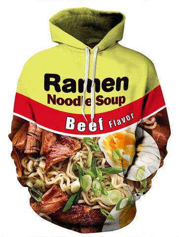 PIZOFF Unisex 3D Digital Ramen Noodle Beef Hoodie Pullover Long Sleeve Fleece Hooded Sweatshirts Pockets AM006-02