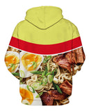 PIZOFF Unisex 3D Digital Ramen Noodle Beef Hoodie Pullover Long Sleeve Hooded Sweatshirts Pockets AM006-02