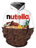 PIZOFF Unisex 3D Digital Nutella Hoodie Pullover Long Sleeve Hooded Sweatshirts Pockets AM006-03