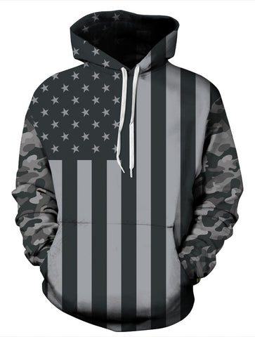 PIZOFF Unisex 3D Digital USA Flag Hoodie Pullover Long Sleeve Hooded Sweatshirts Pockets AM006-06