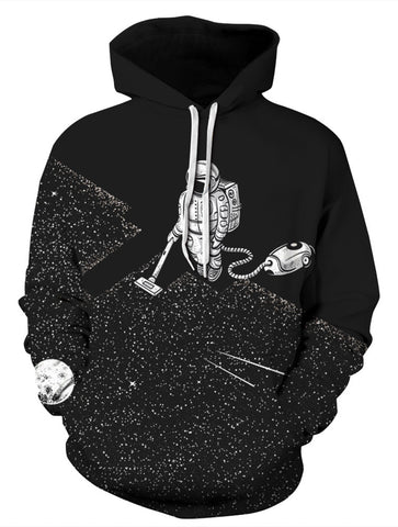 PIZOFF Unisex 3D Astronaut Hoodie Sucks The Stars with a Vacuum Cleaner Hoodie Pullover Hooded Sweatshirts Pockets AM006-07