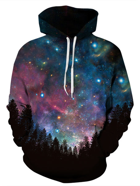 PIZOFF Unisex 3D Digital Forest Under The Galaxy Hoodie Pullover Long Sleeve Hooded Sweatshirts Pockets AM006-10